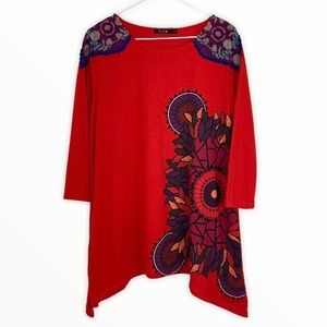 DESIGUAL Embroidered Crochet Lace Tunic Top Red L